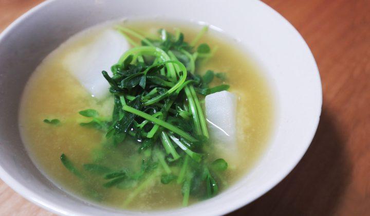 【簡単節約レシピ】シャキシャキ食感が美味しい豆苗のお味噌汁