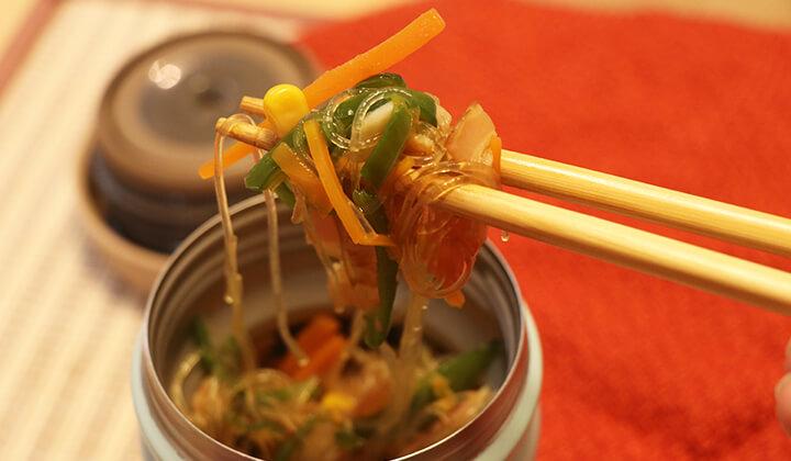 【スープジャー弁当】具沢山!きのことピーマンで作る春雨スープ